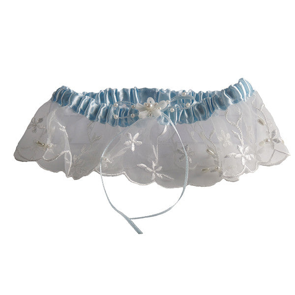 Embroidered Wedding Garters with Pearl Accents, Ivory and Blue - Gifts Are Blue