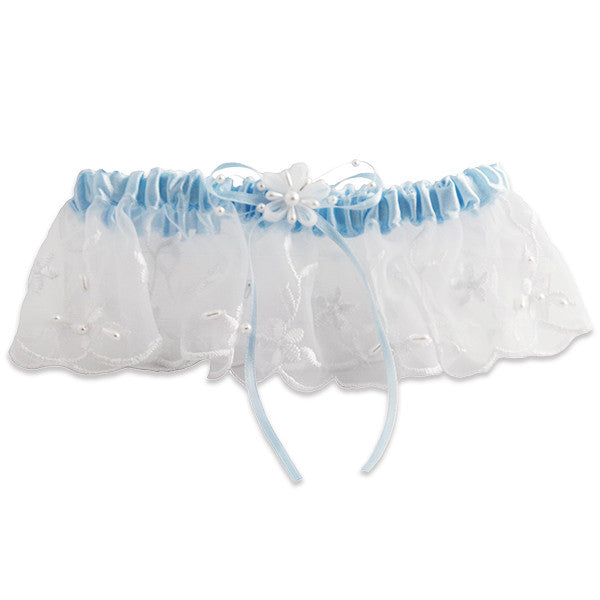 Embroidered Wedding Garters with Pearl Accents, White and Blue