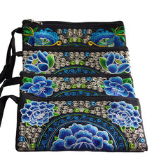 Vintage Embroidered Floral Blue Large Wristlets