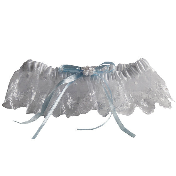 European Inspired White and Blue Bridal Garter