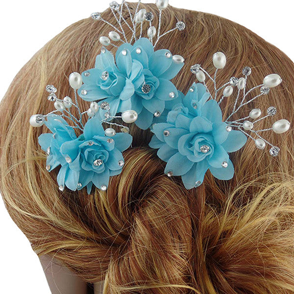 Fancy Sky Blue Hair Pins / Hair Sticks for Wedding