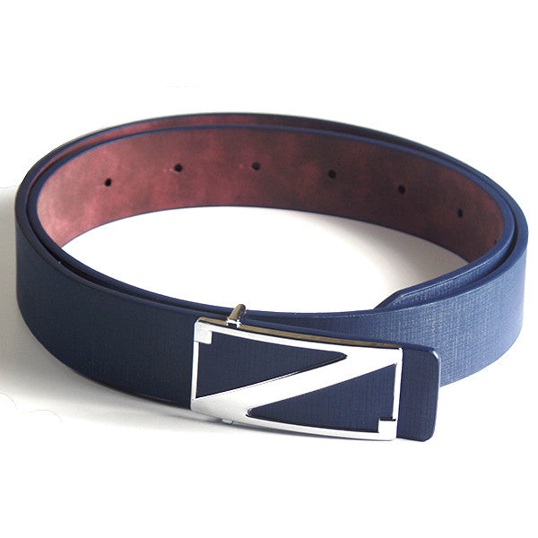 Fashionable Blue Belt with Silver Z Buckle