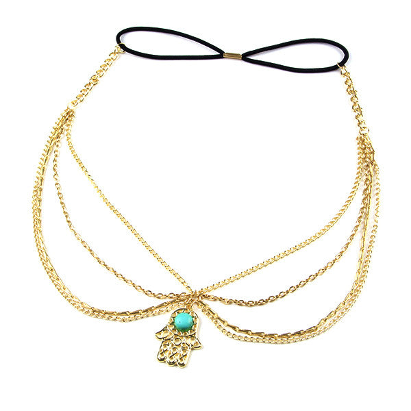 Vintage Gold Plated Turquoise Hair Chain / Headband - Gifts Are Blue - 2