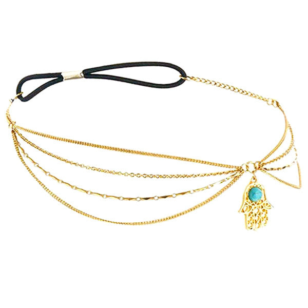 Vintage Gold Plated Turquoise Hair Chain / Headband - Gifts Are Blue - 4