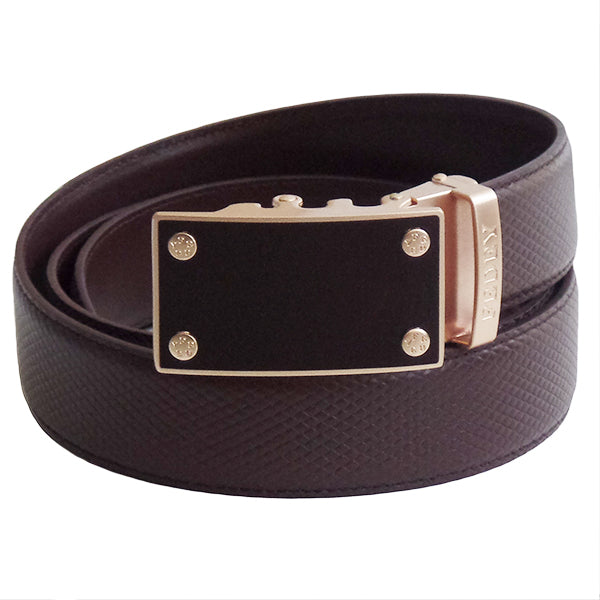 FEDEY Mens Ratchet Belt, Classic, Leather, Blank Canvas Automatic Buckle, Main, Brown/Gold