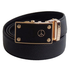 FEDEY Mens Classic Ratchet Leather PEACE Statement Belt w Automatic Buckle