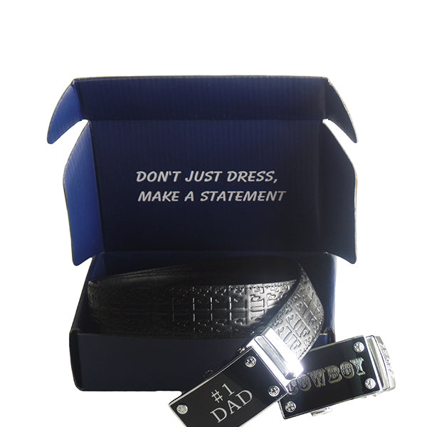FEDEY Mens Gift Set with No. 1 Dad Ratchet Belt and Xtra Cowboy Buckle, Packaging 2, all SKUs