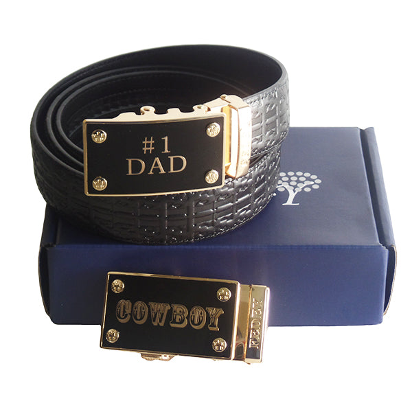 FEDEY Mens Gift Set with No. 1 Dad Ratchet Belt and Xtra Cowboy Buckle, Packaging, all SKUs