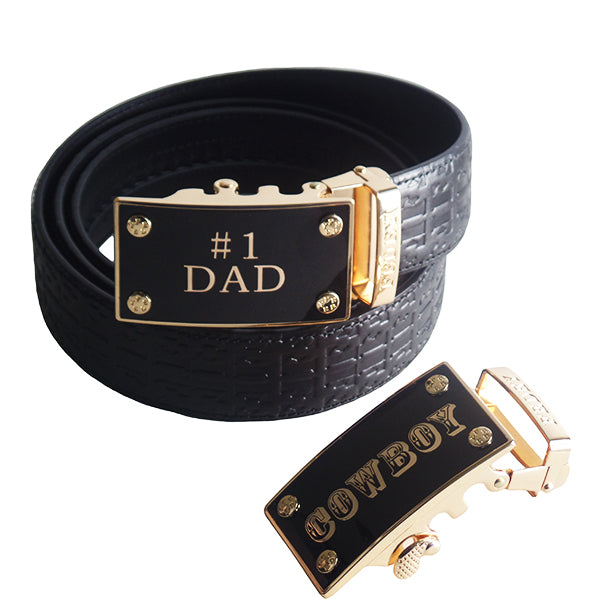 FEDEY Mens Gift Set with No. 1 Dad Ratchet Belt and Xtra Cowboy Buckle, Altview, Signature Black/Gold