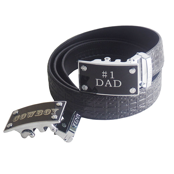 FEDEY Mens Gift Set with No. 1 Dad Ratchet Belt and Xtra Cowboy Buckle, Altview, Signature Black/Silver