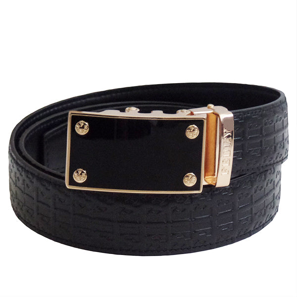 FEDEY Ratchet Belts for Men, Leather Signature Series, Blank Canvas, Main, Black/Gold