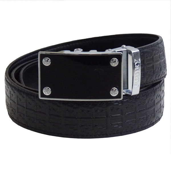 FEDEY Ratchet Belts for Men, Leather Signature Series, Blank Canvas, Main, Black/Silver