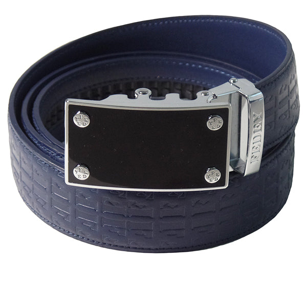 FEDEY Ratchet Belts for Men, Leather Signature Series, Blank Canvas, Main, Blue/Silver