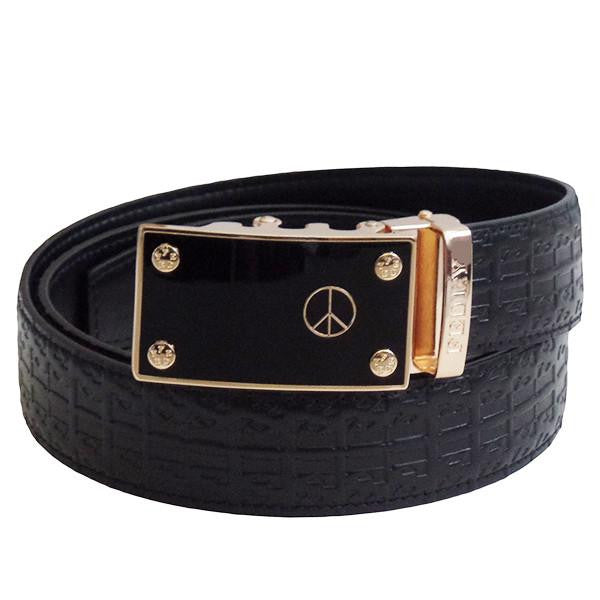 FEDEY Mens Signature Ratchet Leather Belt w PEACE Statement Buckle