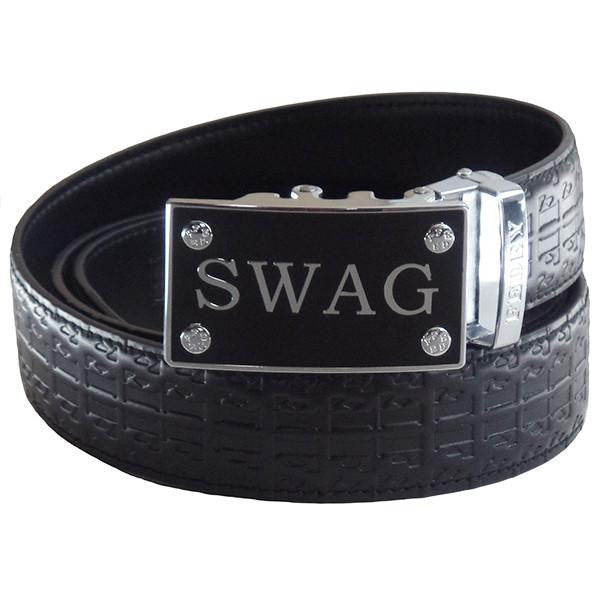 FEDEY Mens Ratchet Belt w SWAG Buckle, Leather, Signature Design, Main, Black/Silver