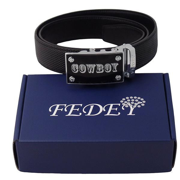 FEDEY Mens Ratchet Cowboy Belt, Black/Silver, Black/Gold, Brown/Gold