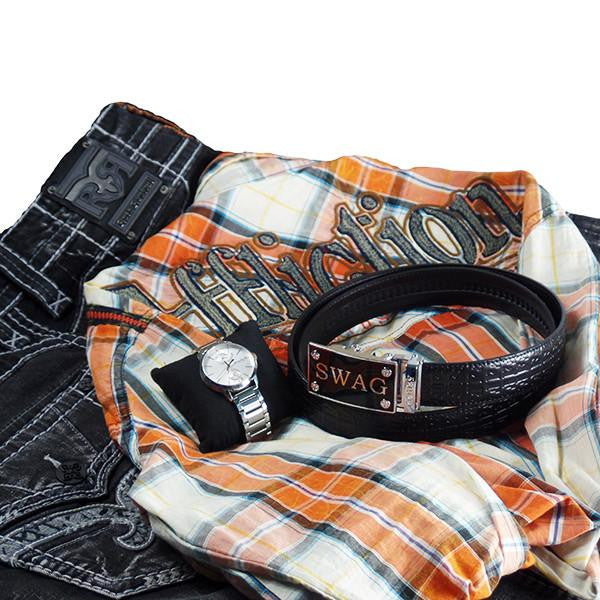 FEDEY Mens Ratchet Signature Leather Belt w SWAG Buckle