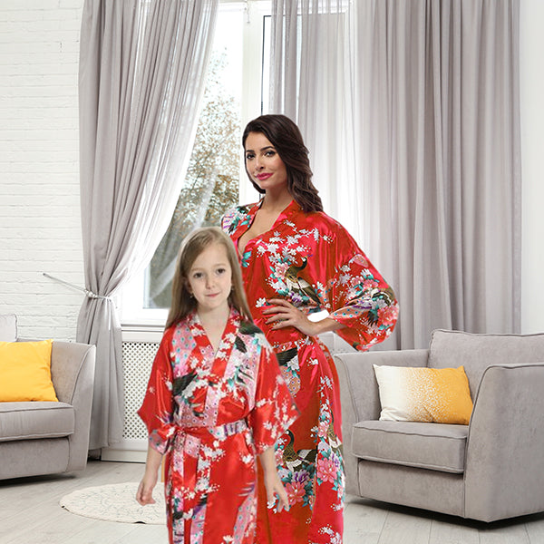 Red Mommy and Me Robes, Floral, Satin, Lifestyle, all SKUs