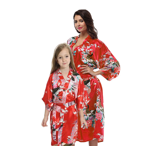 Red Mommy and Me Robes, Floral, Satin, Main, all SKUs