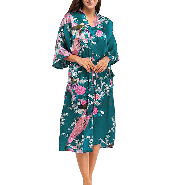 Medium Length Floral Womens Robe, Teal Green