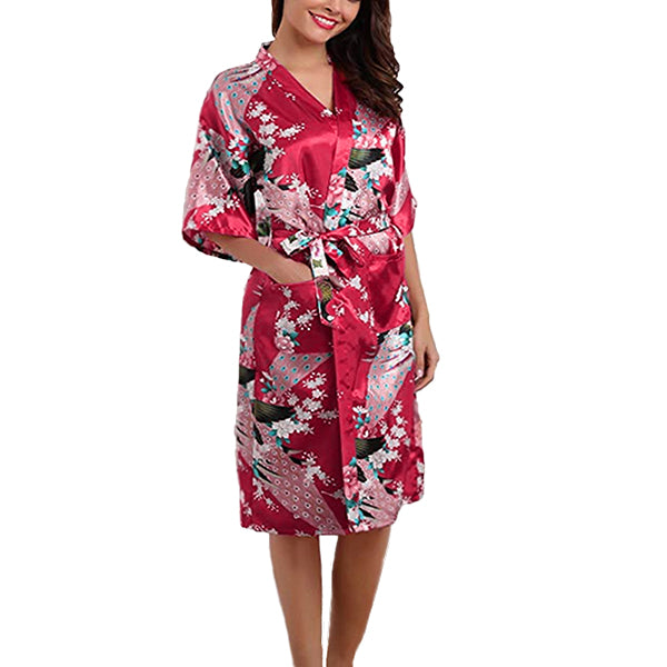 Medium Length Floral Womens Robe, Dark Red