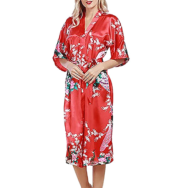 Medium Length Floral Womens Robe, Fiery Red