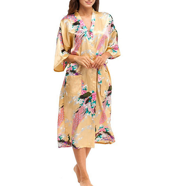 Medium Length Floral Womens Robe, Gold