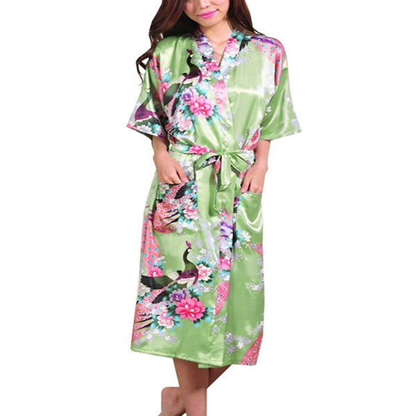 Medium Length Floral Womens Robe, Light Green