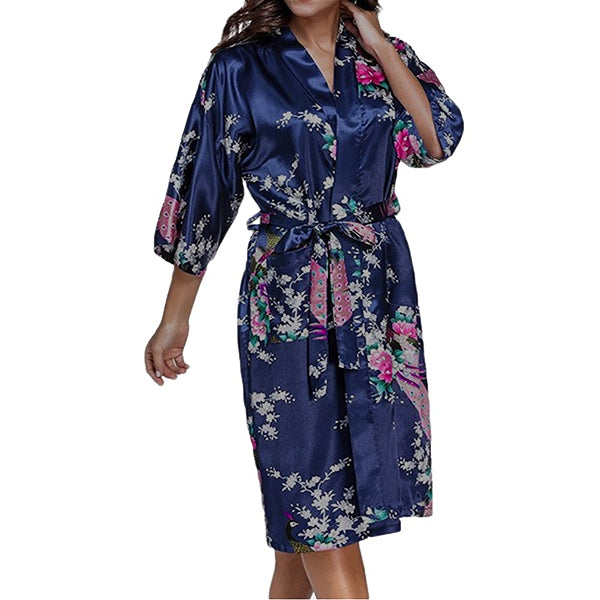 Floral Bridesmaid Robe Navy Blue - Womens Robe - Getting Ready Robe