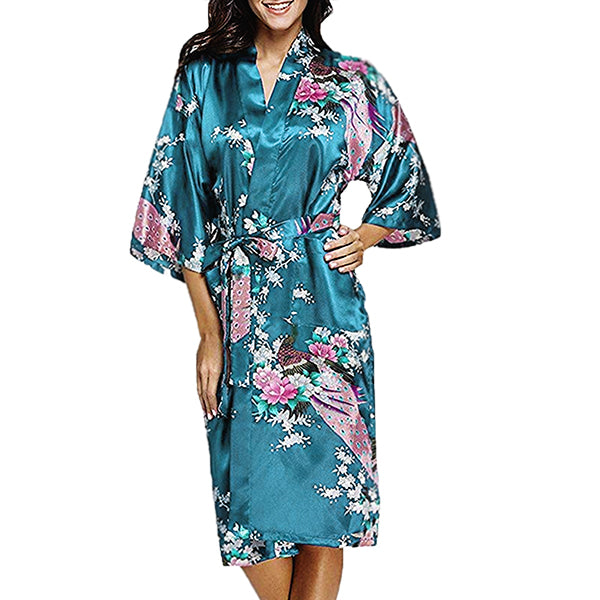 Floral Bridesmaid Robe Turquoise Blue - Womens Robe - Tiffany Blue Robe