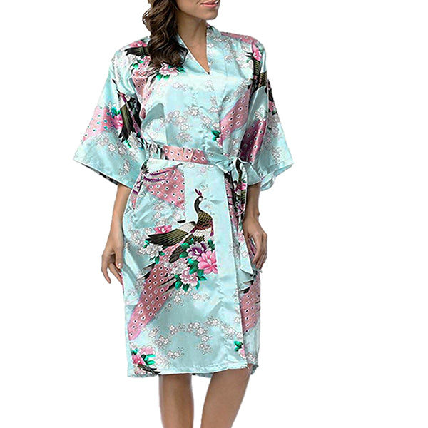 Floral Bridesmaid Robe Light Blue - Womens Robe - Getting Ready Robe