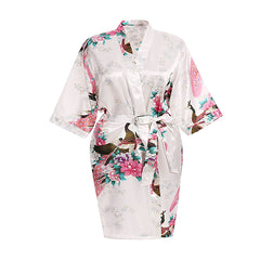 Floral Womens Plus Size Robe, White