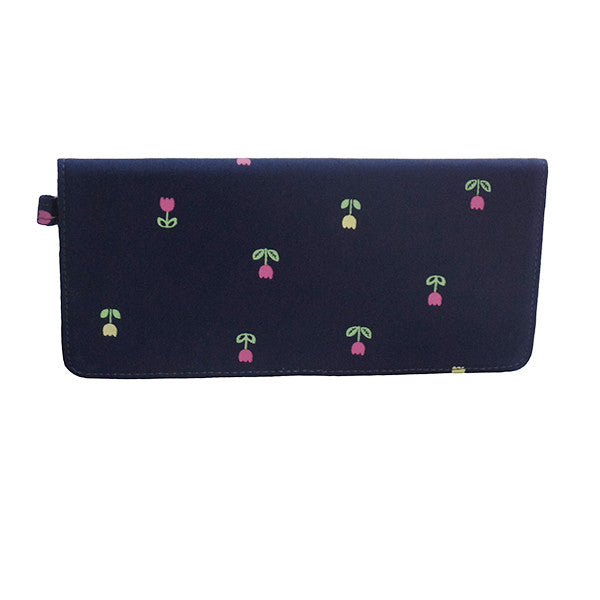 Navy Blue Flower Long Wallet