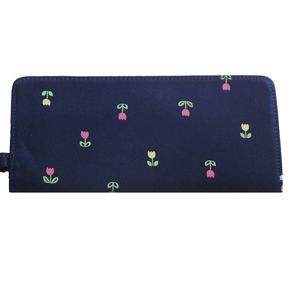 Navy Blue Flower Long Wallet - Gifts Are Blue - 2