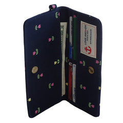 Navy Blue Flower Long Wallet - Gifts Are Blue - 5