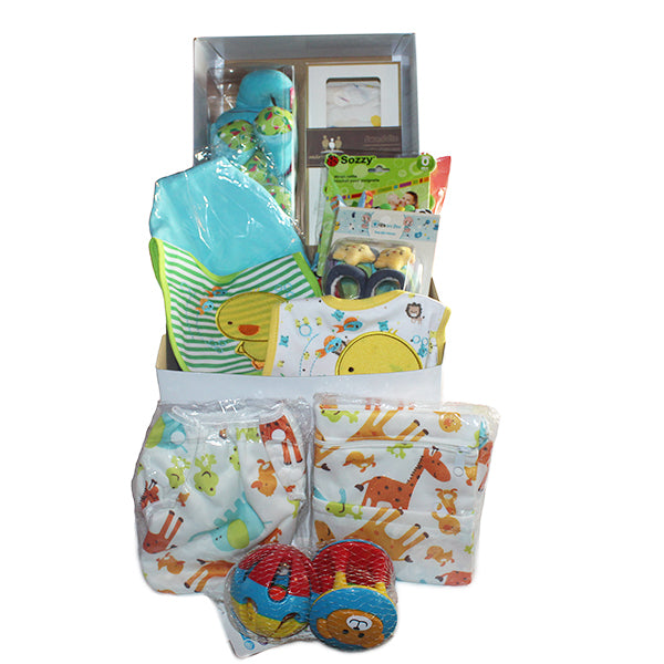 Gifts Are Blue Unisex Baby Bundle Gift Set for Expecting Mothers, Open Contents