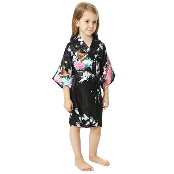 Mommy and Me Robes, Floral, Satin, Black, Childs Robe, all SKUs