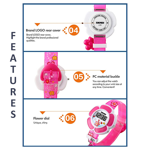SKMEI Girls Cute Flower Digital Watch with Charm, 4 to 7 year olds, Features, all SKUs