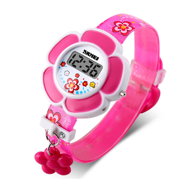 SKMEI Girls Cute Flower Digital Watch with Charm, 4 to 7 year olds, Alt, Rose Pink