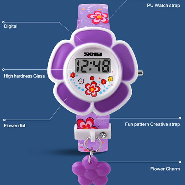 SKMEI Girls Cute Flower Digital Watch with Charm, 4 to 7 year olds, Details, all SKUs