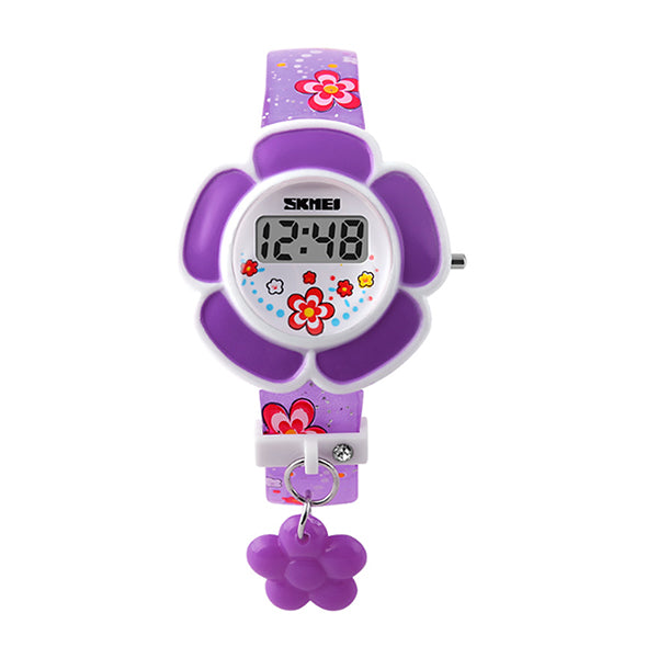 SKMEI Girls Cute Flower Digital Watch with Charm, 4 to 7 year olds, Main, Purple