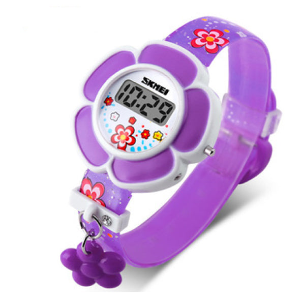 SKMEI Girls Cute Flower Digital Watch with Charm, 4 to 7 year olds, Alt, Purple