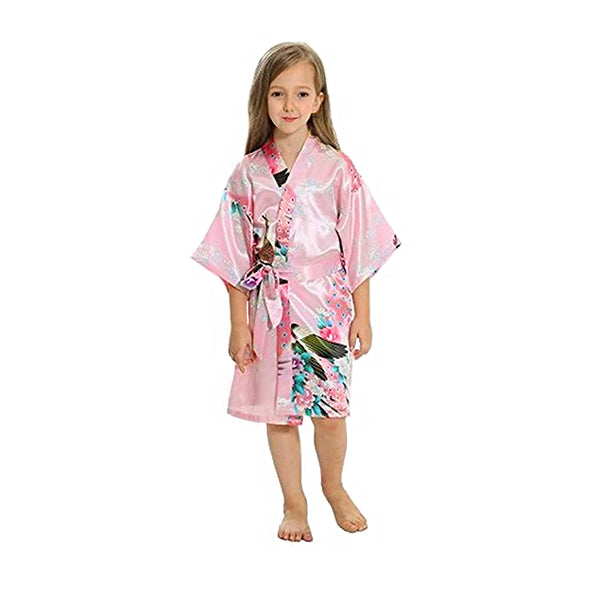 Light Pink Mommy and Me Robes, Floral, Satin, Child Kimono Robe, all SKUs