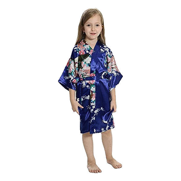 Navy Blue Mommy and Me Robes, Floral, Satin Feel