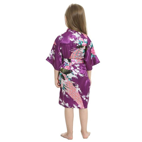 Purple Mommy and Me Robes, Floral, Satin, Child Backview, all SKUs