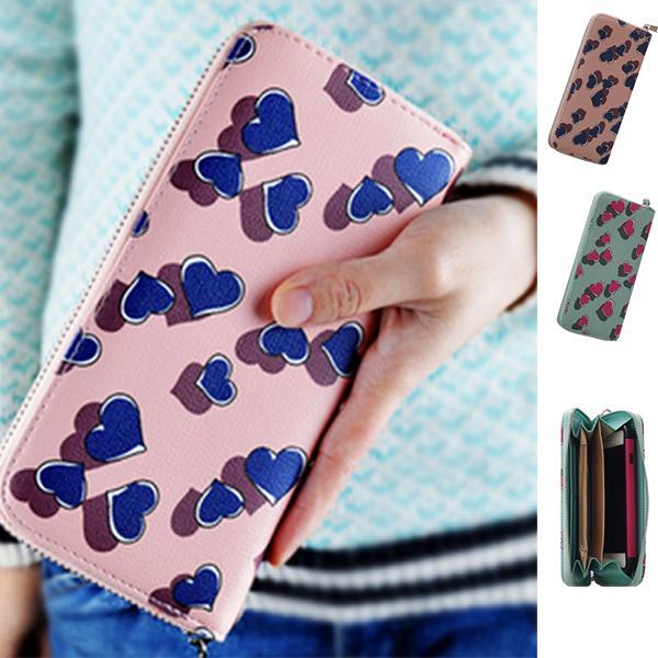 Hearts Wallet Phone Case with Zipper