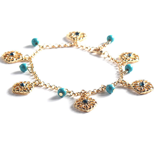 Stylish Double Anklet with Turquoise Beads and Gold Plated Chain - Gifts Are Blue - 3