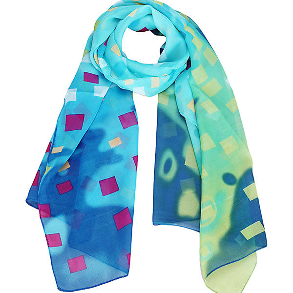 Light and Bright Grid Design Scarf and Shawl - Gifts Are Blue - 1