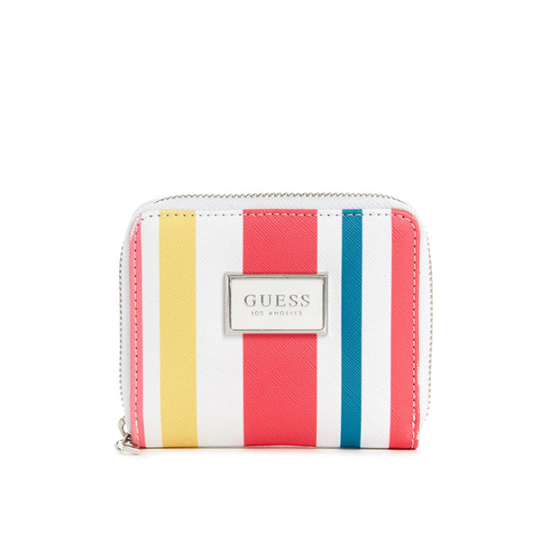 Abree Saffiano Zip Wallet by Guess, Small, Multi Stripes, UU602655, Main