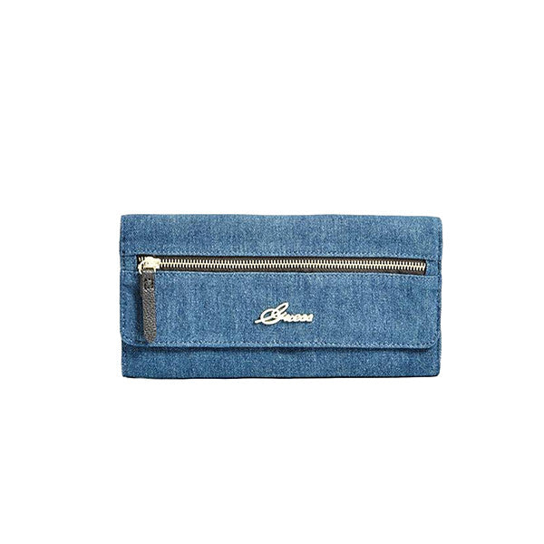 Guess Chantilly Travel Zipper Denim Clutch - Gifts Are Blue - 1